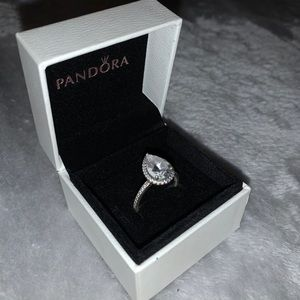 Pandora Tear-Drop Halo Ring